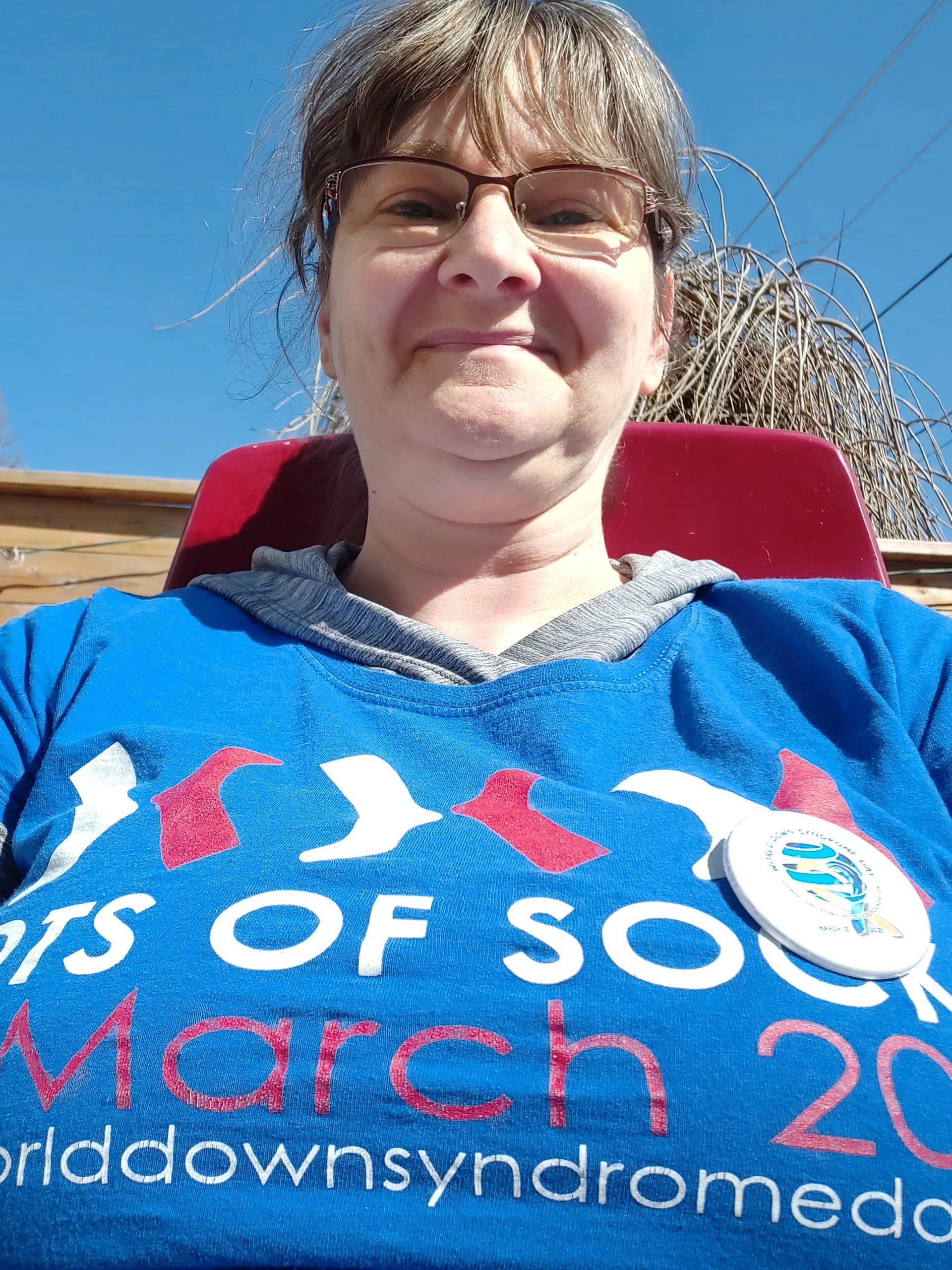 Marrick's mum in her WDSD t-shirt