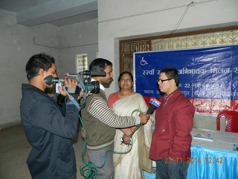 Pranay being interviewed by a TV crew